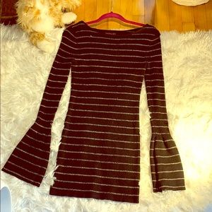 Material girl black and silver women sweater dress